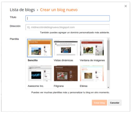Blogger crear blog