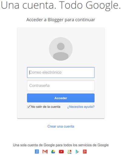 Blogger crear cuenta